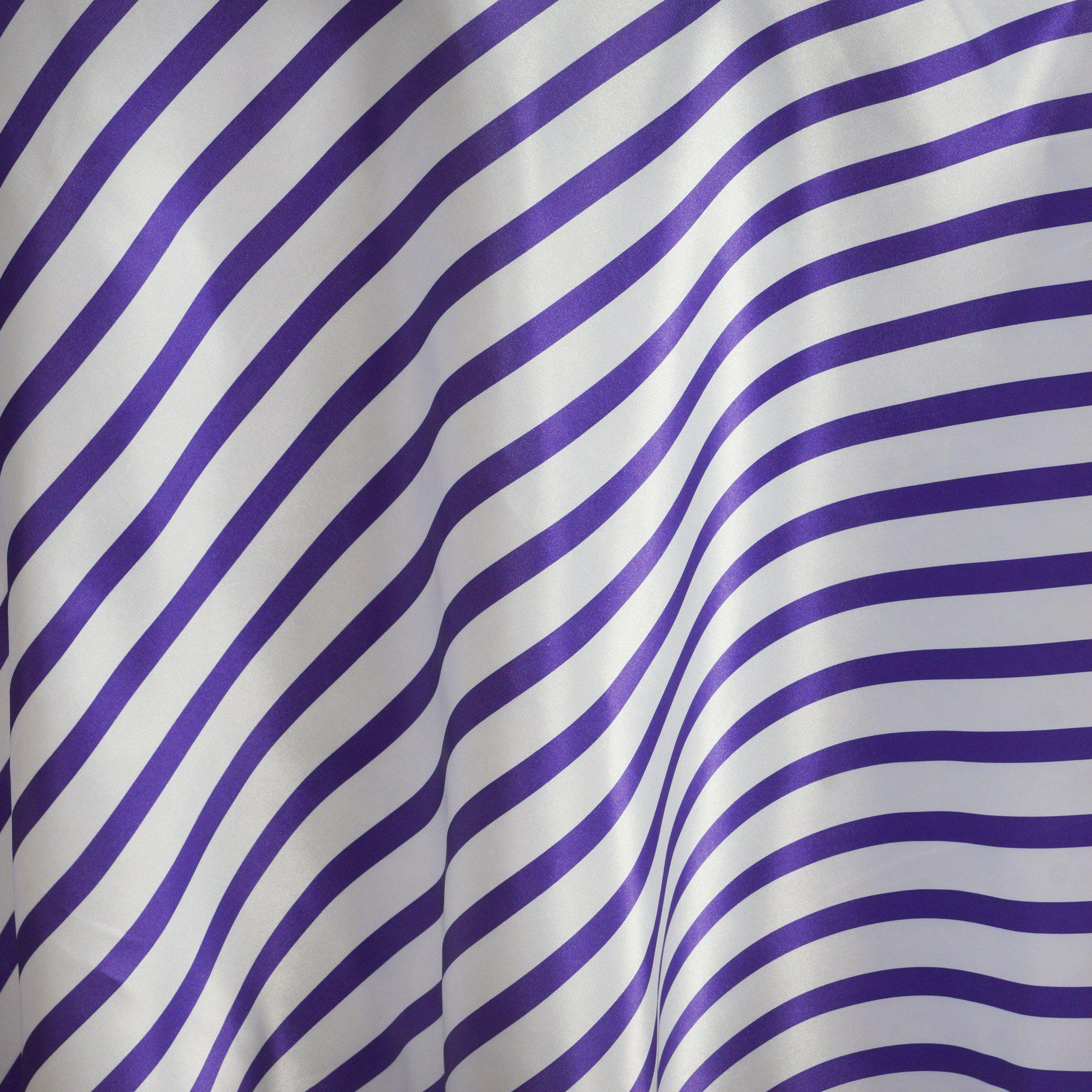 120 Quot Stripe Satin Tablecloth White Purple Tableclothes
