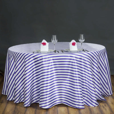 "120"" Stripe Wholesale SATIN Banquet Linen Wedding Party Restaurant Tablecloth - White/Purple"