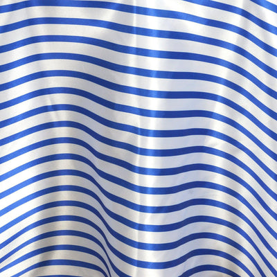 "120"" Stripe Wholesale SATIN Banquet Linen Wedding Party Restaurant Tablecloth - White/Royal Blue"