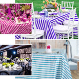"60""x102"" White/Fushia Striped Satin Tablecloth"