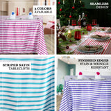 "60""x102"" White/Purple Striped Satin Tablecloth"