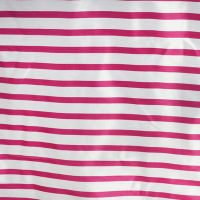 "60x102"" WHITE / FUSHIA Striped Wholesale SATIN Banquet Linen Wedding Party Restaurant Tablecloth"