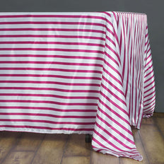 60 inch x102 inch  White/Fushia Striped Satin Tablecloth