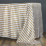 "60x102"" WHITE / GOLD Striped Wholesale SATIN Banquet Linen Wedding Party Restaurant Tablecloth"