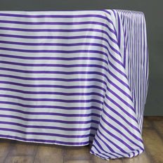 60 inch x102 inch White/Purple Striped Satin Tablecloth