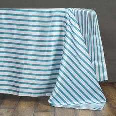 "60x102"" WHITE / TURQUOISE Striped Wholesale SATIN Banquet Linen Wedding Party Restaurant Tablecloth"