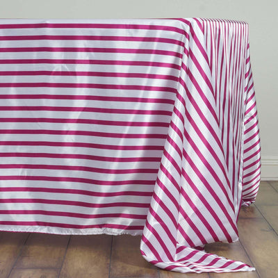 "60x126"" WHITE / FUSHIA Striped Wholesale SATIN Banquet Linen Wedding Party Restaurant Tablecloth"