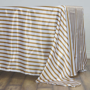 "60x126"" WHITE / GOLD Striped Wholesale SATIN Banquet Linen Wedding Party Restaurant Tablecloth"