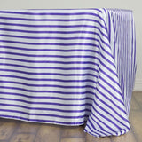 "60x126"" WHITE / PURPLE Striped Wholesale SATIN Banquet Linen Wedding Party Restaurant Tablecloth"