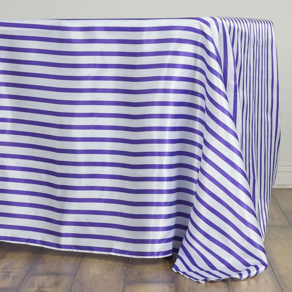 "60""x126"" White/Purple Striped Satin Tablecloth"