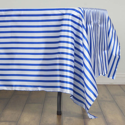 "60x126"" WHITE / ROYAL BLUE Striped Wholesale SATIN Banquet Linen Wedding Party Restaurant Tablecloth"