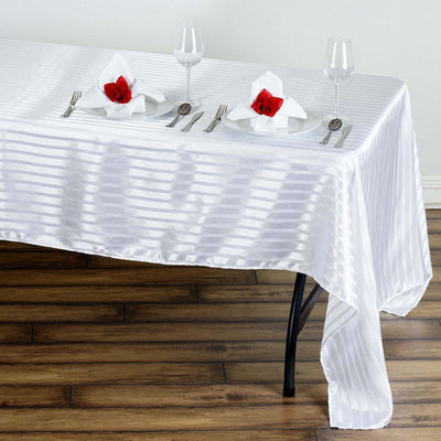 "60x126"" WHITE / SILVER Striped Wholesale SATIN Banquet Linen Wedding Party Restaurant Tablecloth"