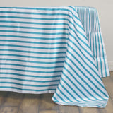 "60x126"" WHITE / TURQUOISE Striped Wholesale SATIN Banquet Linen Wedding Party Restaurant Tablecloth"