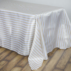 90 inch x132 inch White/Champagne Stripe Satin Tablecloth