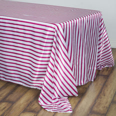90 inch x132 inch White/Fushia Stripe Satin Tablecloth