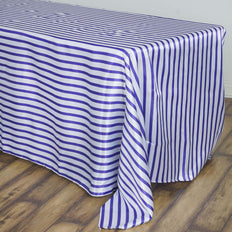 90 inch x132 inch White/Purple Stripe Satin Tablecloth