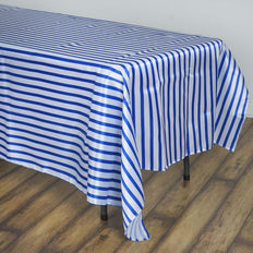 90 inch x132 inch White/Royal Blue Stripe Satin Tablecloth