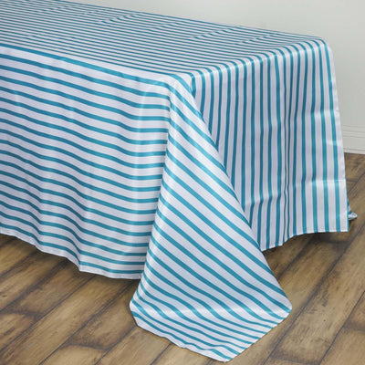 90 inch x132 inch White/Turquoise Stripe Satin Tablecloth