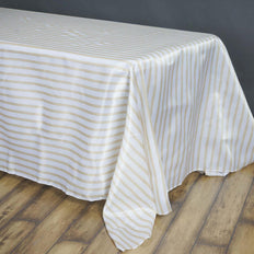 90 inch x156 inch White/Champagne Stripe Satin Tablecloth