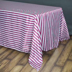 90 inch x156 inch White/Fushia Stripe Satin Rectangle Tablecloth