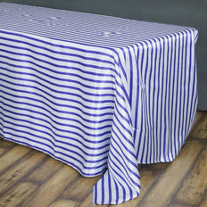 90 inch x156 inch White/Purple Stripe Satin Tablecloth