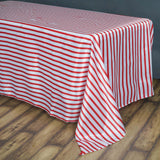 "90x156"" Stripe Wholesale SATIN Banquet Linen Wedding Party Restaurant Tablecloth - White/Red"