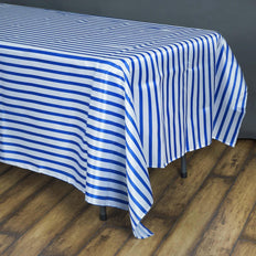 90 inch x156 inch White/Royal Blue Stripe Satin Tablecloth