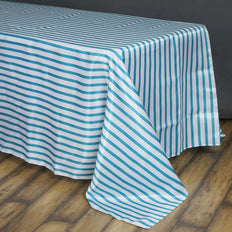 90 inch x156 inch White/Turquoise Stripe Satin Tablecloth