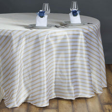 "90"" Stripe Wholesale SATIN Round Tablecloth For Wedding Banquet Restaurant - White/Champagne"