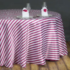 "90"" Stripe Wholesale SATIN Round Tablecloth For Wedding Banquet Restaurant - White/Fushia"