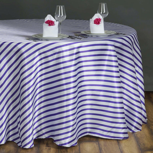 "90"" White/Purple Satin Stripe Round Tablecloth"