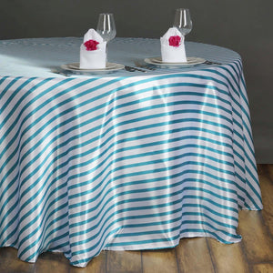 "90"" Stripe Wholesale SATIN Round Tablecloth For Wedding Banquet Restaurant - White/Turquoise"
