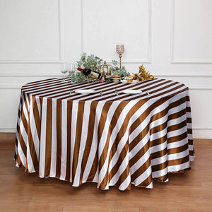 Seamless Stripe Satin Round Tablecloth - Gold & White