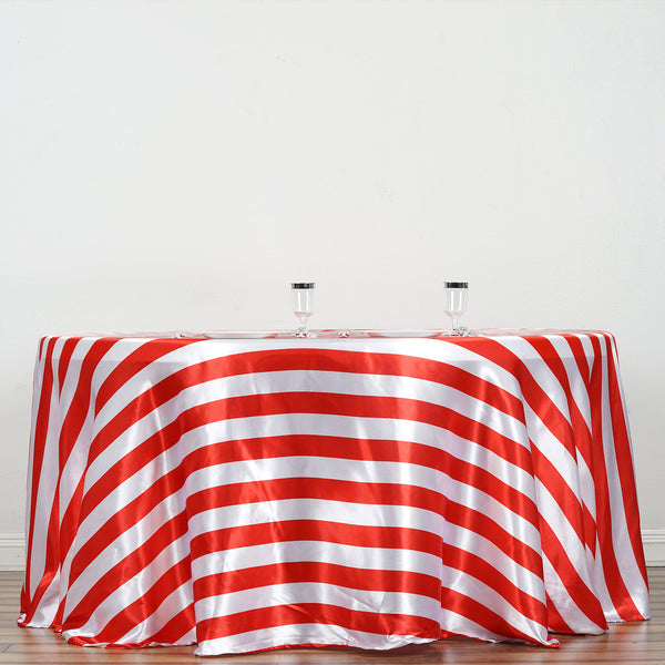 120 Quot Stripe Satin Round Tablecloth Red Amp White