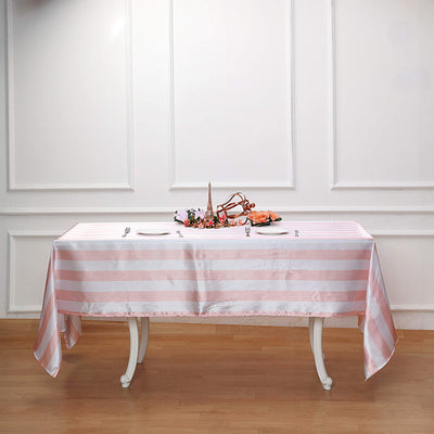 Striped Satin Tablecloth, Rectangle Tablecloth, Wedding Tablecloths