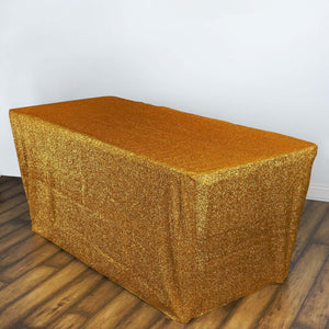 6 Ft Rectangular Metallic Spandex Table Cover - Gold