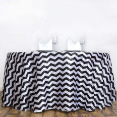 "120"" Round Jazzed Up Chevron Tablecloths - White / Black"