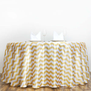 "120"" Round Jazzed Up Chevron Tablecloths - White / Champagne"