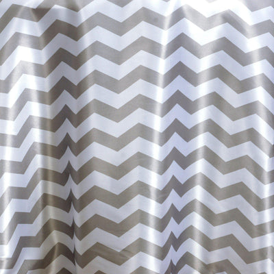 "120"" Round Jazzed Up Chevron Tablecloths - White / Silver"