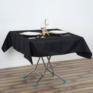 "54""x54"" Black Wrinkle and Stain Resistant Premium Polyester Square Tablecloth"