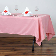 "60""x102"" Rose Quartz Polyester Rectangular Tablecloth - Clearance SALE"