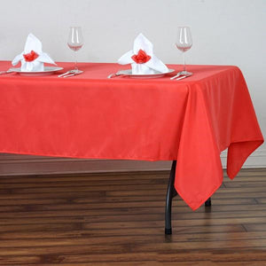 "60""x102"" Coral Red Polyester Rectangular Tablecloth - Clearance SALE"