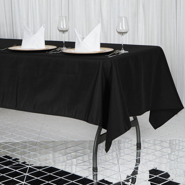 "60""x102"" Black 220 GSM Seamless Premium Polyester Rectangular Tablecloth"