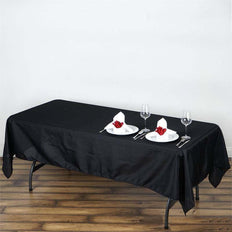 "60""x102"" Black Polyester Rectangular Tablecloth"