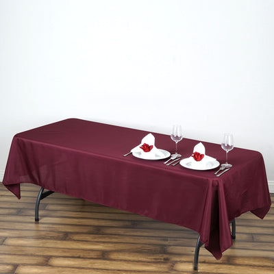 "60x102"" Burgundy Polyester Rectangular Tablecloth"