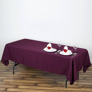 "60x102"" Eggplant Polyester Rectangular Tablecloth"