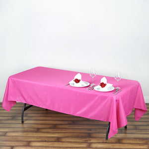 "60x102"" Fushia Polyester Rectangular Tablecloth"