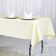 "60x102"" Ivory 220 GSM Seamless Premium Polyester Rectangular Tablecloth"