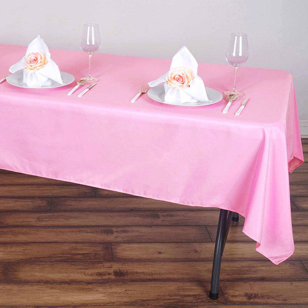 "60""x102"" Pink Polyester Rectangular Tablecloth"