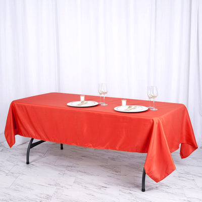 "60""x102"" Red Polyester Rectangular Tablecloth"